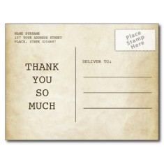 Telegram thank you card for wedding postcard back