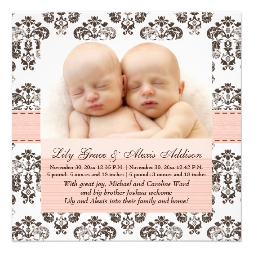 Baby Birth Announcements Archives Superdazzle Custom – Birth Announcement for Twins