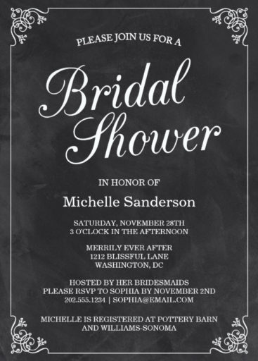 Vintage Chalkboard Bridal Shower Invitation
