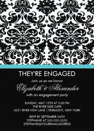 Vintage damask engagement party invitation