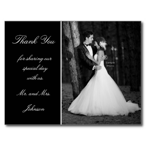 Wedding photo thank you postcard