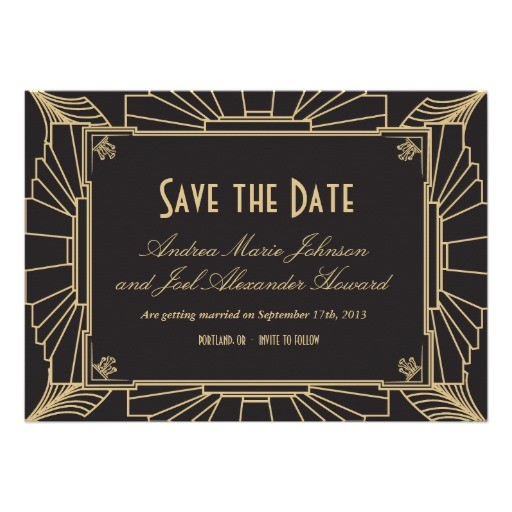 art deco style wedding save the date invitation
