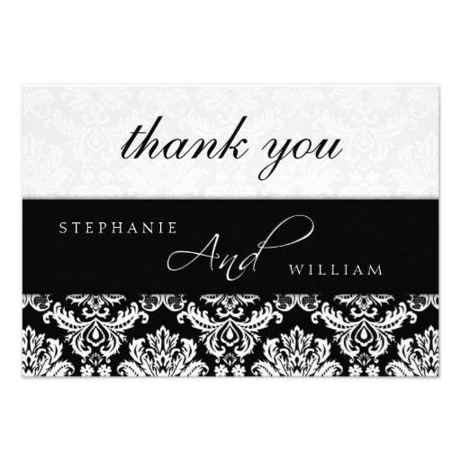 black and white damask wedding thank you card
