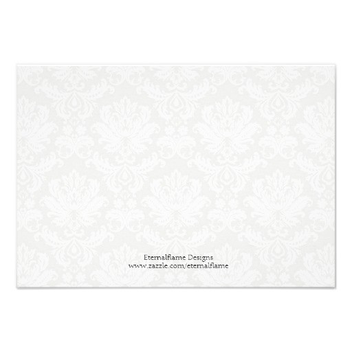 black and white damask wedding thank you card back