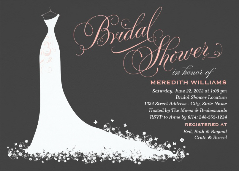 Elegant wedding gown bridal shower invitation for Wedding dress bridal shower invitations