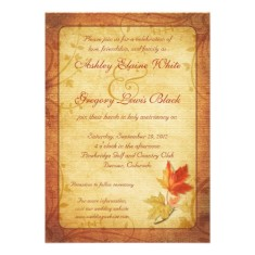 fall maple leaves wedding invitation back