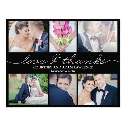 lovely writing wedding photo thank you card