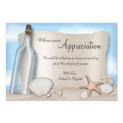 Message From A Bottle Beach Thank You Card Superdazzle