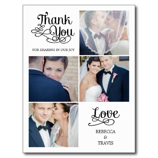 modern calligraphy wedding thank you card postcard
