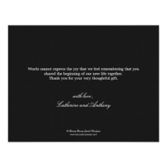 pure elegance wedding photo thank you card back