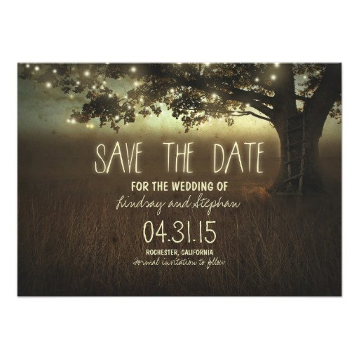 romantic night lights rustic save the date card