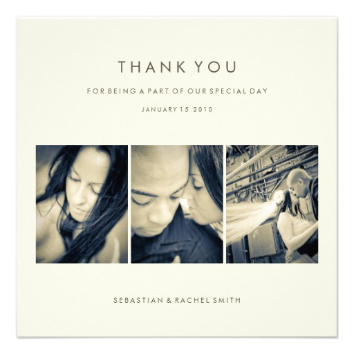 simple chic photo wedding thank you card