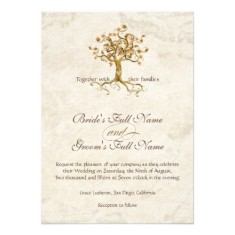 swirl tree roots antiqued parchment monogrammed invitation back
