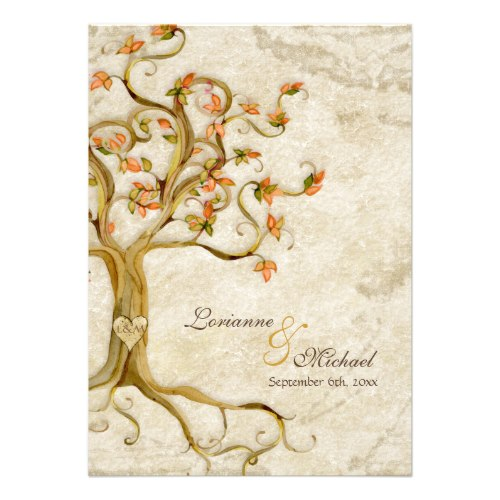 swirl tree roots antiqued parchment monogrammed invitation