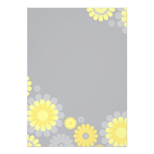 yellow gray daisy bridal shower invitation back