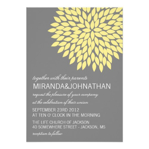 yellow gray flower design wedding invitation