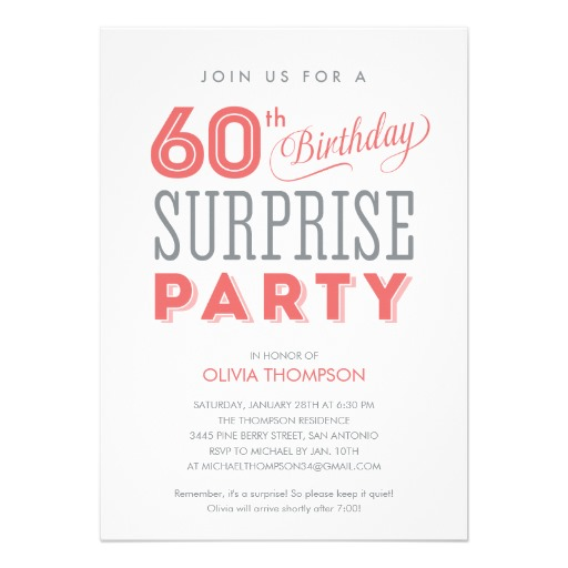 60th Surprise Birthday Invitations Customize Online