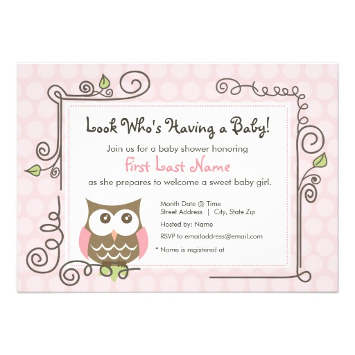 Baby shower girl owl invitation