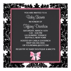 Black damask pink bow princess baby shower invitation back