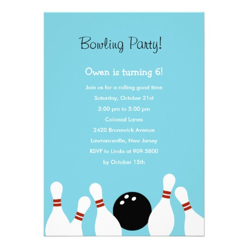 Bowling fun birthday party invitation turquoise