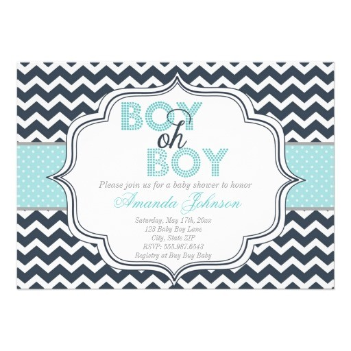 Boy oh boy chic chevron baby shower invitation