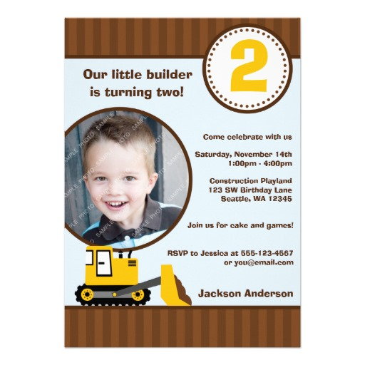 Construction front loader photo boy birthday party invitation