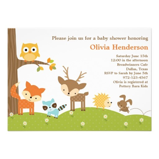Cute woodland animal baby shower invitation