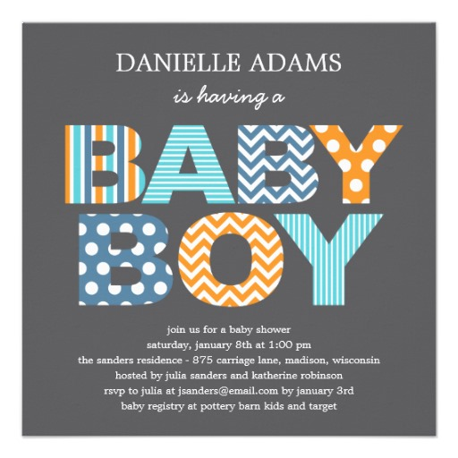 Cutout letters baby shower invitation boy Superdazzle Custom