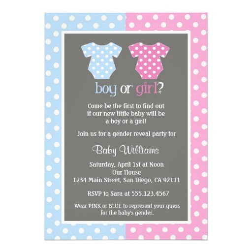 Gender reveal party baby shower invitation