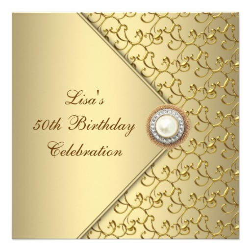female 50th birthday party invitations golden with pearl