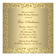 Female 50th birthday party invitations golden with pearl back
