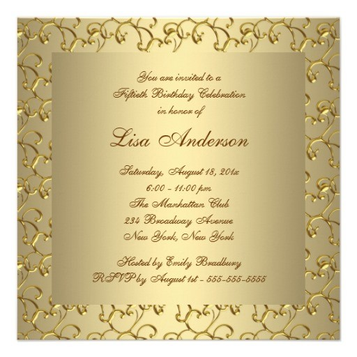 Female 50th birthday party invitations Golden Customize online – 50th Birthday Party Invite