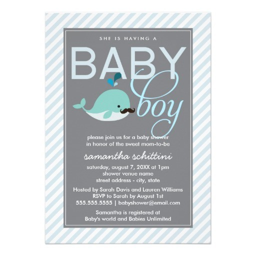 Modern blue baby shower boy little whale mustache invitation