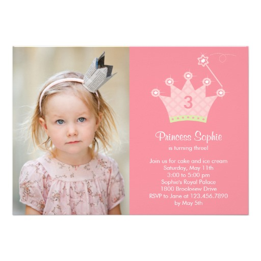 Princess party photo kids birthday invitation
