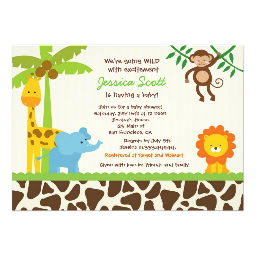 Safari jungle zoo baby shower invitation