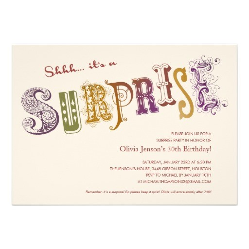 Unique Surprise Birthday Party Invitation