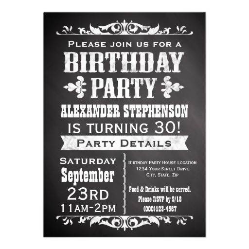 Vintage slate chalkboard birthday party invitation