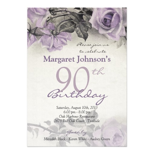 Vintage purple rose 90th birthday invitations - Customize ...