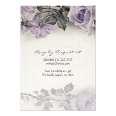 Vintage sterling silver purple rose 90th birthday invitations back