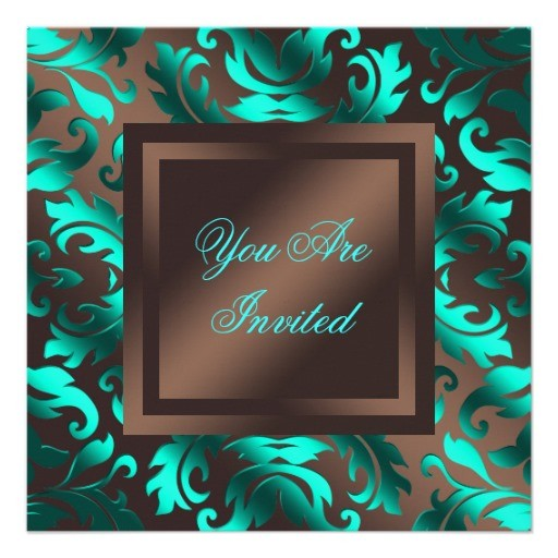 Damask party invitations aqua blue chocolate brown