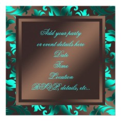 Damask party invitations aqua blue chocolate brown back