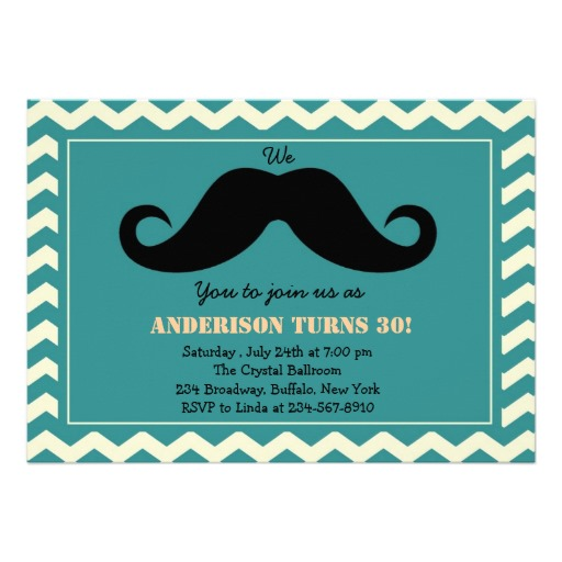 Mustache birthday invitations vintage style