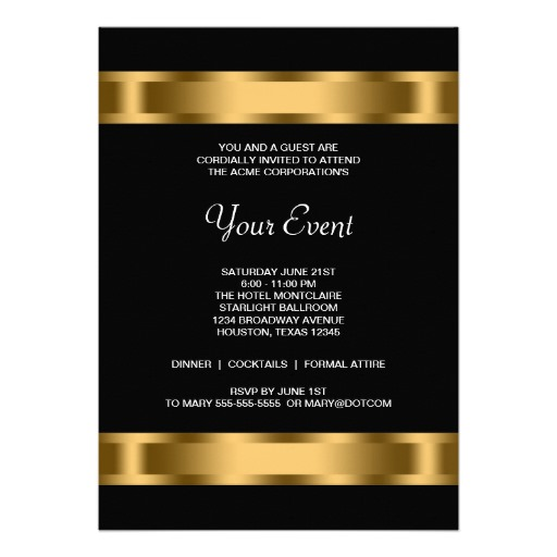 Black gold black corporate party invitation templates for Formal invitation template for an event