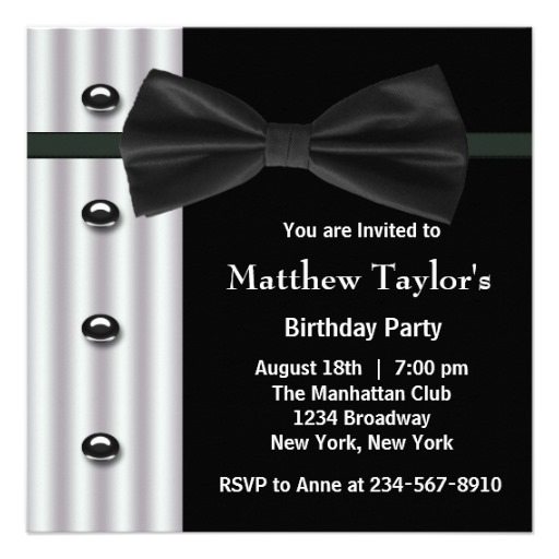 Mens Birthday Party Invitations Black Tuxedo Bow Tie