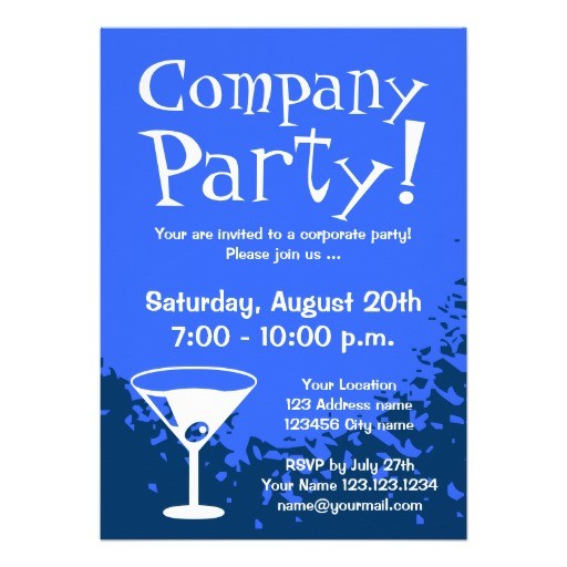 Blue elegant corporate party invitations
