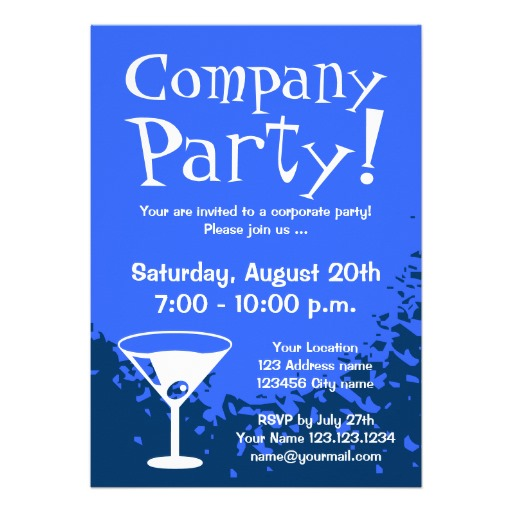 Blue elegant corporate party invitations - Personalize online!
