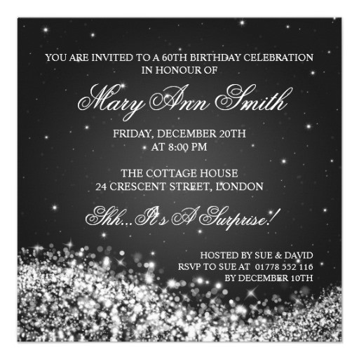 Elegant 60th birthday invitations sparkling wave black