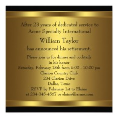 Mens retirement party invitation elegant black and gold back
