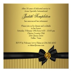 Womens retirement party invitation elegant black and gold back