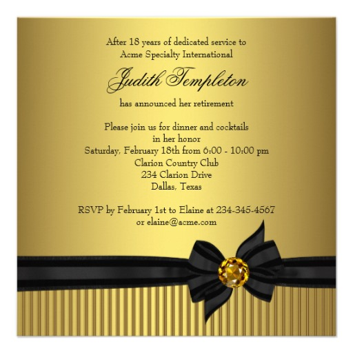 Womens Retirement Party Invitation Elegant Black And Gold Personalize